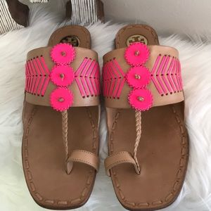 EXCELCOND TORY BURCH CAYLAN TOE RING SANDAL TAN 10